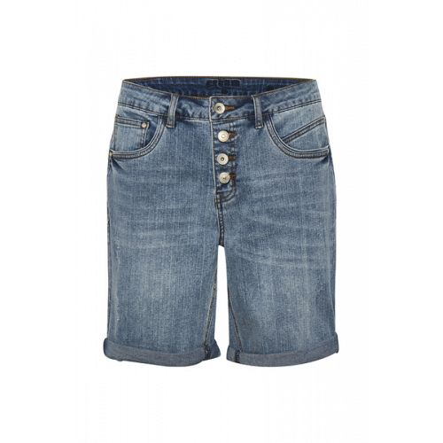 Cream Dana blue denim shorts