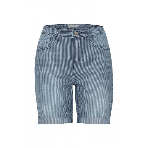 Blå stribet denim shorts