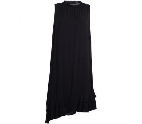 dfe338fee81b Sort Gozzip kjole med asymmetrisk snit