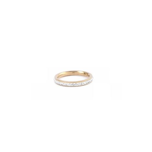 VÅGA Bling fingerring  - steel gold-clear 18mm