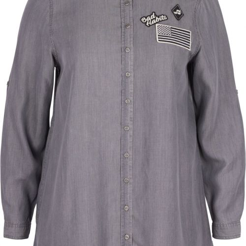 Lang Zizzi skjorte i grey denim